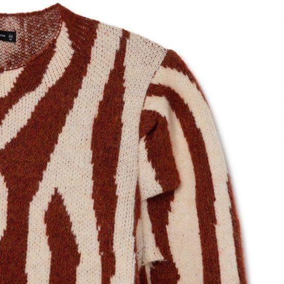 Jersey de cuello perkins con manga abullonada y estampado de cebra