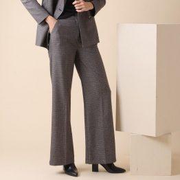 Pantalón palazzo con bolsillos laterales y estampado de gales