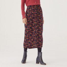 Falda midi con aberturas laterales estampado de flores.