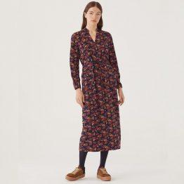 Vestido largo con estampado de flores y cinta para ajustar la cintura
